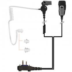 2-Kabel Hörsprechgarnitur mit Schallschlauch, Mikrofon & PTT - für ICOM Handfunkgeräte_10847